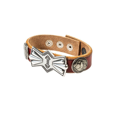 Buffalo Nickel and Bow Concho Cuff Cuff WillLeatherGoods Red