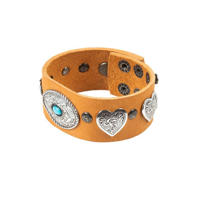 Heart and Oval Wide Concho Cuff Cuff WillLeatherGoods Natural