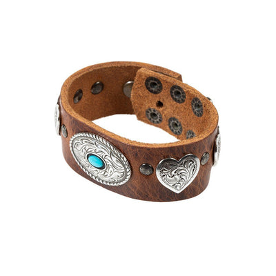 Heart and Oval Wide Concho Cuff Cuff WillLeatherGoods Brown