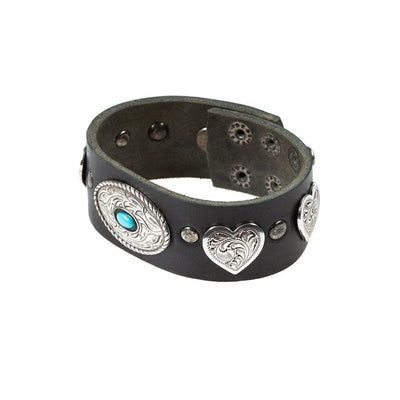 Heart and Oval Wide Concho Cuff Cuff WillLeatherGoods Black