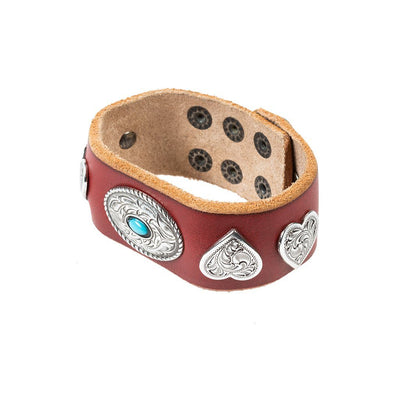 Heart and Oval Wide Concho Cuff Cuff WillLeatherGoods Red