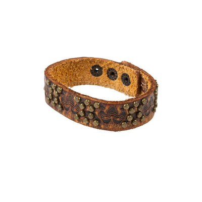 Studded Tooled Leather Cuff