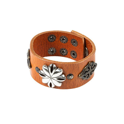 Western Blooms Wide Concho Cuff Cuff WillLeatherGoods Orange/Bronze