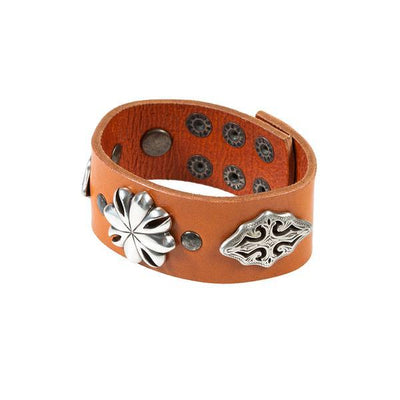 Western Blooms Wide Concho Cuff Cuff WillLeatherGoods Orange/Silver