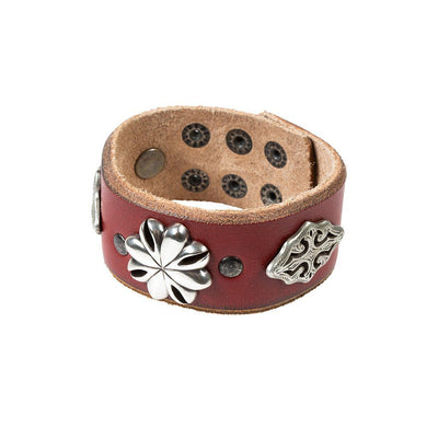 Western Blooms Wide Concho Cuff Cuff WillLeatherGoods Red