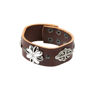 Western Blooms Wide Concho Cuff Cuff WillLeatherGoods Chocolate