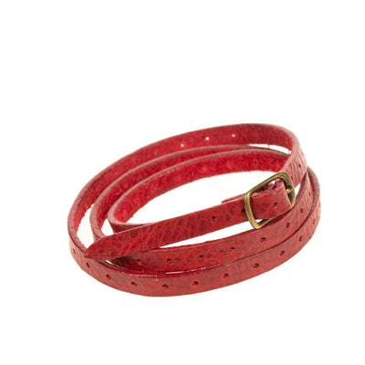 Thin Perforated Cuff Cuff WillLeatherGoods Red