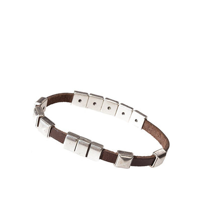 Skyscraper Brown Leather Bracelet with Square Silver beads