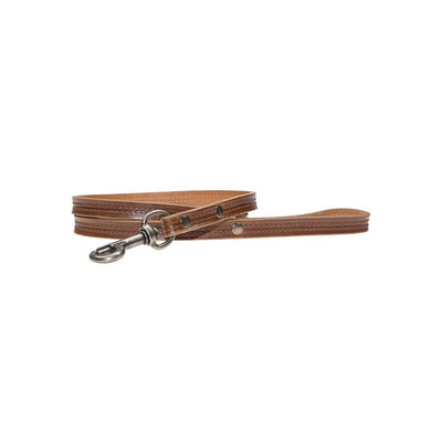 "Napoli Dog Leash w/ Double Hook Pet WillLeatherGoods Dark Brown 1"" Wide"