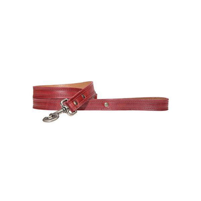 "Napoli Dog Leash w/ Double Hook Pet WillLeatherGoods Red 5/8"" Wide"