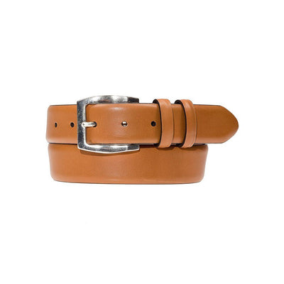 Tan Artisan Belt with Silver Belt Buckle