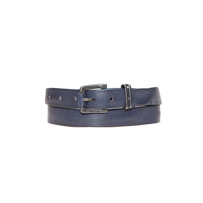 Extra Long Sunset Belt Leather Navy Blue