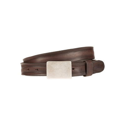 Italia Plaque Belt Dark Brown