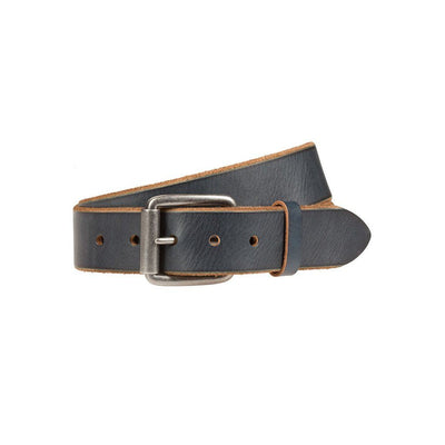 Blueberry Harlequin Belt with Natural Underside And Silver Buckle