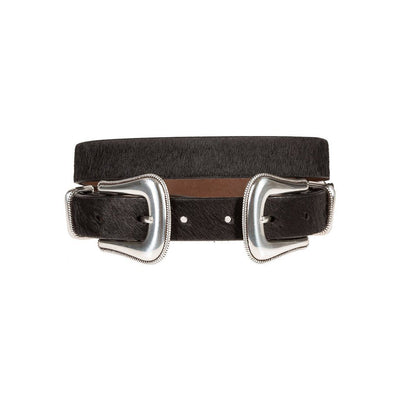 Hair-On Rope Edge Buckle Belt Black