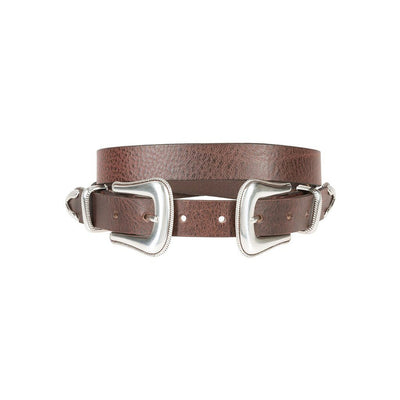 Brown Rope Edge Buckle Belt