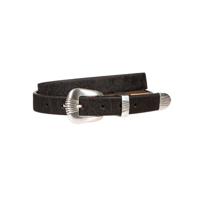 Hair-On Scallop Buckle Belt Black