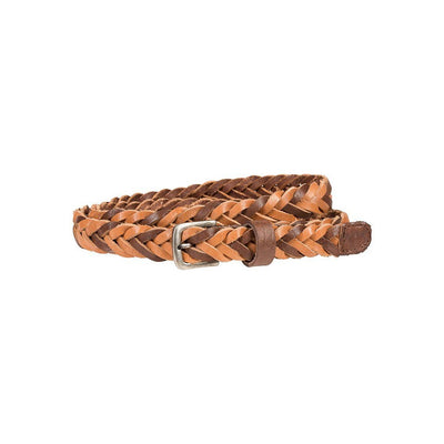 Coiled 20mm braid belt with braided tan and brown leather