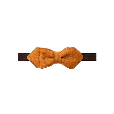 Deerskin Bowtie Tie WillLeatherGoods LAST CHANCE Tan/Red Final Sale