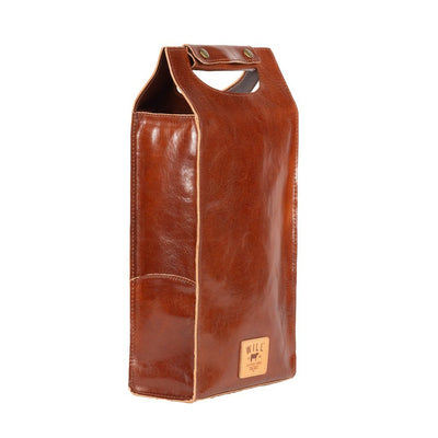 Glossy Double Wine Bottle Case Beverage WillLeatherGoods Glossy Cognac