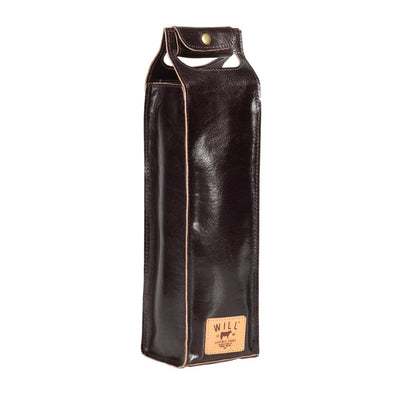 Glossy Single Leather Wine Case Beverage WillLeatherGoods Glossy Black