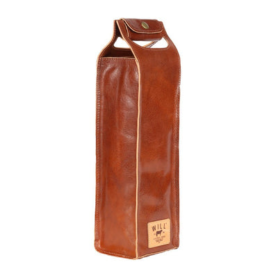 Glossy Single Leather Wine Case Beverage WillLeatherGoods Glossy Cognac