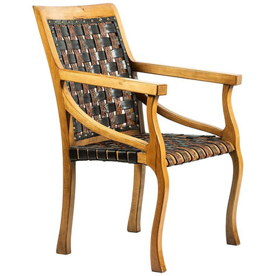 Hand Tooled Woven Leather Belt Arm Chair