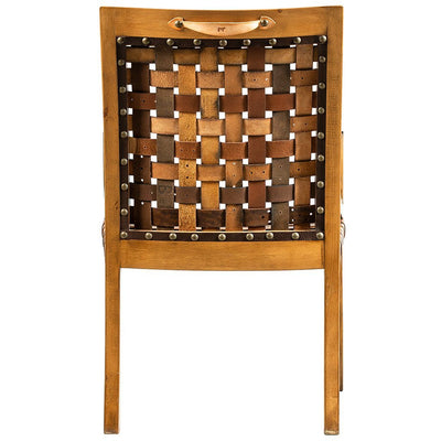 Woven Leather Belt Arm Chair