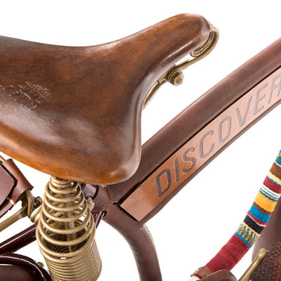 brown leather bike seat