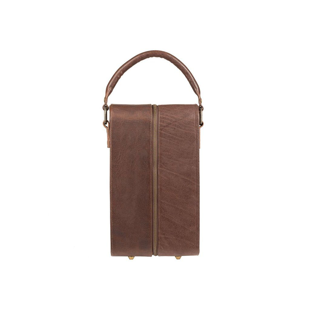 Brown Double Leather Wine Zip Case