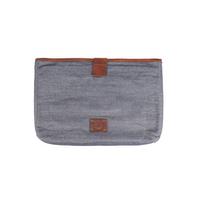 "Padded Laptop Case Office WillLeatherGoods LAST CHANCE 15"" Blue Chambray Final Sale"