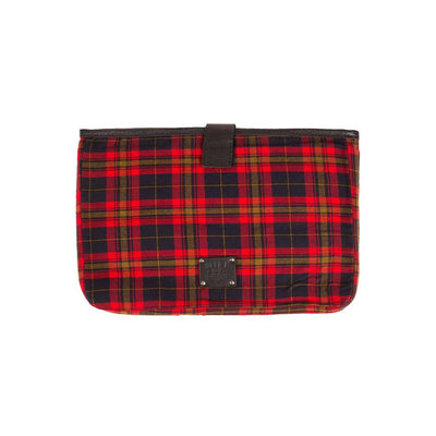 Plaid / Black 15 inch padded laptop case with will logo patch