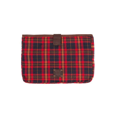 Plaid / Brown 15 inch padded laptop case with will logo patch