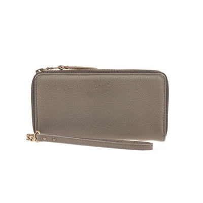 Leather Zip Around Clutch Wallet WillLeatherGoods Grey Pebble