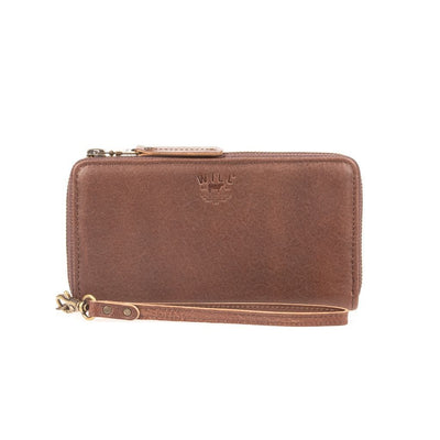 Leather Zip Around Clutch Wallet WillLeatherGoods Brown Pebble