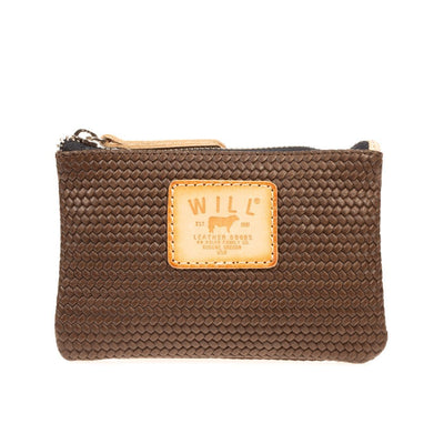 Woven Leather Small Pouch Pouch WillLeatherGoods Brown