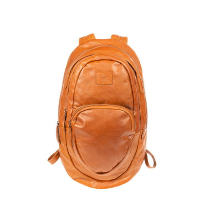 All Weather Leather Double Zip Front Pocket Backpack WillLeatherGoods Tan