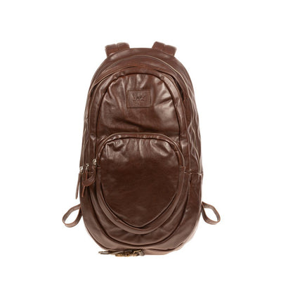 All Weather Leather Double Zip Front Pocket Backpack WillLeatherGoods Brown