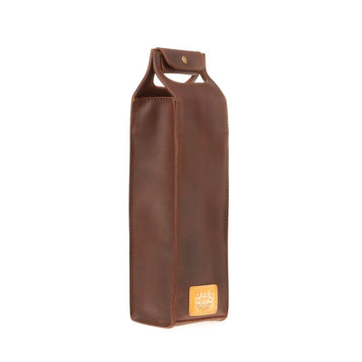 Single Leather Wine Tote Beverage WillLeatherGoods Cognac