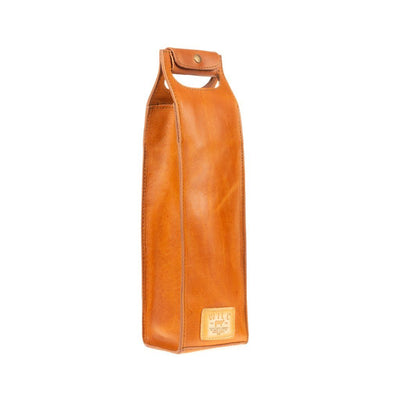 Single Leather Wine Tote Beverage WillLeatherGoods Tan