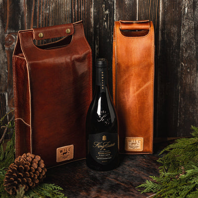 Single Leather Wine Tote Beverage WillLeatherGoods