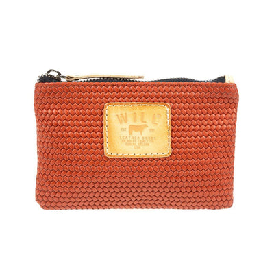 Woven Leather Small Pouch Pouch WillLeatherGoods Brick