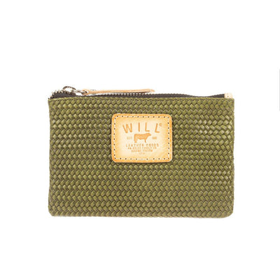 Woven Leather Small Pouch Pouch WillLeatherGoods Olive