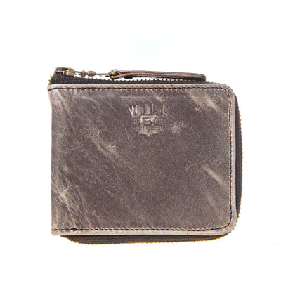 Leather Zip Around French Wallet Wallet WillLeatherGoods Grey Marble