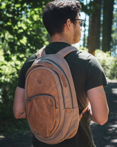 All Weather Canvas and Leather Double Zip Front Pocket - FINAL SALE Backpack WillLeatherGoods