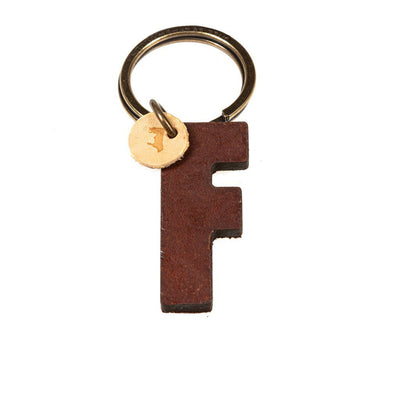 Alphabet Keychain Keychain WillLeatherGoods F Brown