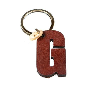 Alphabet Keychain Keychain WillLeatherGoods G Brown