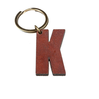 Alphabet Keychain Keychain WillLeatherGoods K Brown