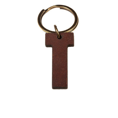 Alphabet Keychain Keychain WillLeatherGoods T Brown