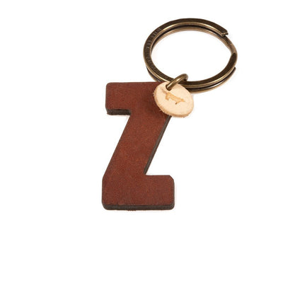 Alphabet Keychain Keychain WillLeatherGoods Z Brown